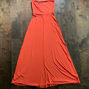 The Limited Strapless Maxi Dress in Coral